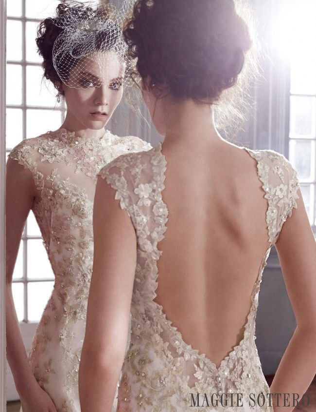 Camelia, a gold lace sheath wedding dress by Maggie Sottero.