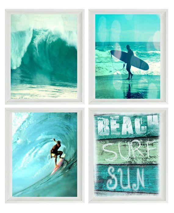 Surf Art Print Set  SALE 25 OFF  Aqua Surfer door SevenElevenStudios, $75.00