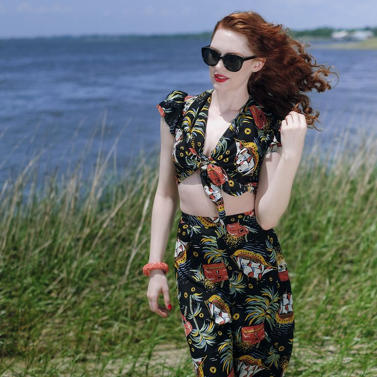 Set sail on a new style adventure with this 1940s inspired Alexa Tie Top and Lounge Pants!