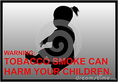 Vector anti-smoking warnings of a little girl silhouette.