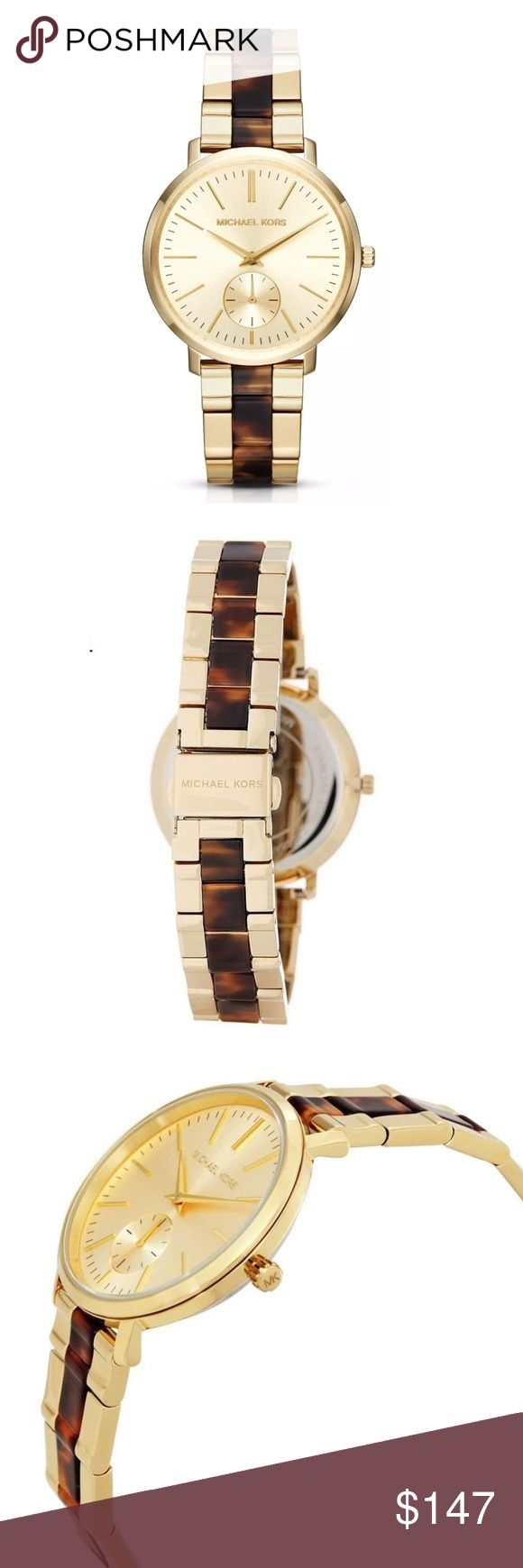 Michael Kors Women's Jaryn Gold Bracelet Watch Michael Kors Women's Jaryn Gold Tone Tortoise Acetate Bracelet Watch MK3511  item# 272941344307  100% Authentic Michael Kors!  Buy with confidence!  • MSRP: $275.00  • Style: MK3511  Features:  Gold-tone stainless steel case with a gold-tone stainless steel bracelet with tortoise-shell acetate center links. Fixed gold-tone bezel. Gold dial with gold-tone hands and index hour markers. Minute markers around the outer rim. Dial Type: Analog. 60…