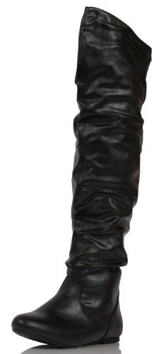 Women's FRIB Faux Leather Slouchy Over The Knee Riding Boots Black 6 M US