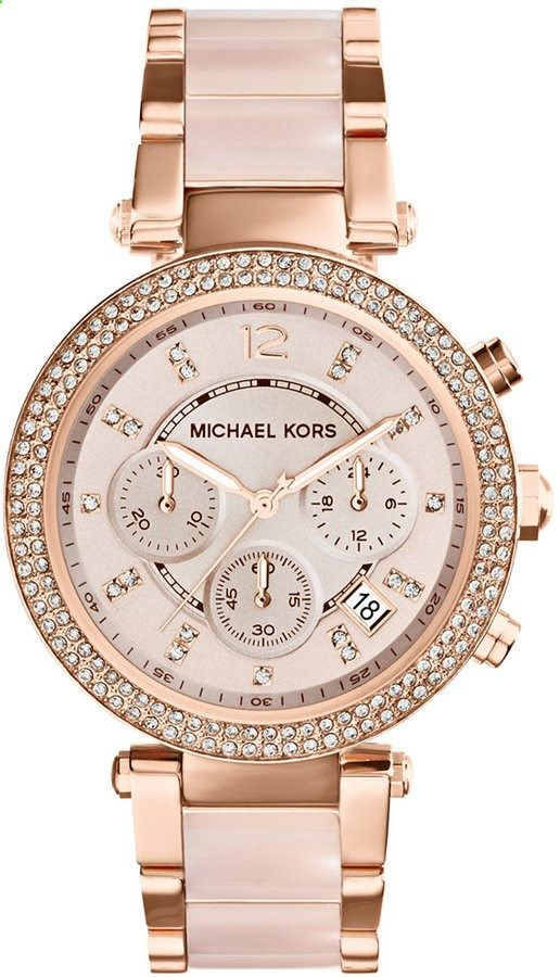 Michael Kors Women's Chronograph Parker Blush and Rose Gold-Tone Stainless Steel Bracelet Watch 39mm MK5896 #Love this #watch <> kimlud.com <> www.kimlud.com