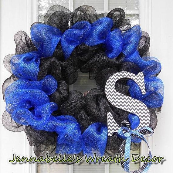 22 ACU Thin Blue Line Law Enforment Mesh Wreath by JennaBelles, $48.00