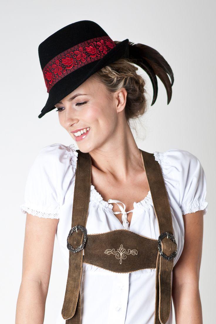 """#Trachtenhut """"Anja"""" in schwarz ----  black hat for #lederhosen-ladies"""