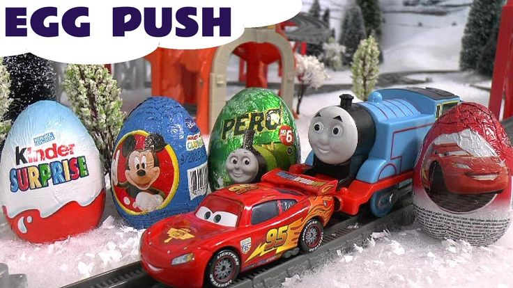 Cars Lightning McQueen Kinder Surprise Eggs Thomas Train Mickey Mouse Hu... Cars Lightning McQueen gets to push surprise eggs along the train track along with Thomas. Mickey Mouse and Pluto then get to open them. Watch out for a rare surprise toy inside in one of the eggs. #cars   #disney   #cars2   #lightningmcqueen   #mcqueen   #surpriseeggs   #kinder   #thomas   #mickeymouse