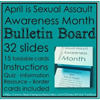April is Sexual Assault Awareness Month Bulletin BoardInstructions:I used https://www.the-qrcode-generator.com/  to make my QR codes. Make sure your schools filter doesn't block QR codes from this website.Print first page single sided. Print remaining pages back to back.I printed each page on teal-colored printer paper.