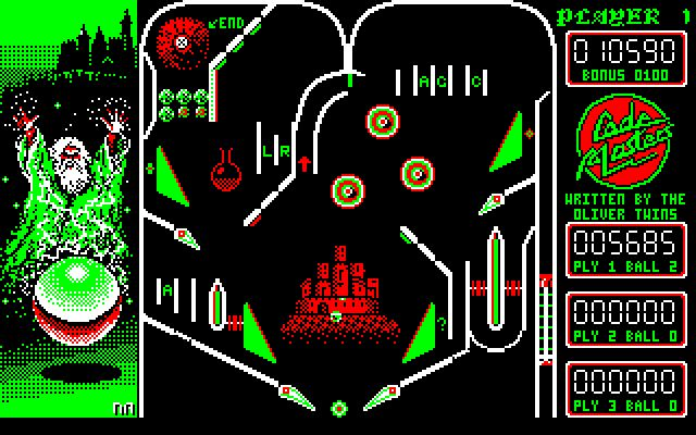 Advanced Pinball Simulator for Amstrad CPC (Codemasters, 1988). Also published on Atari 8-bits, ZX Spectrum and C64. Pinball game.