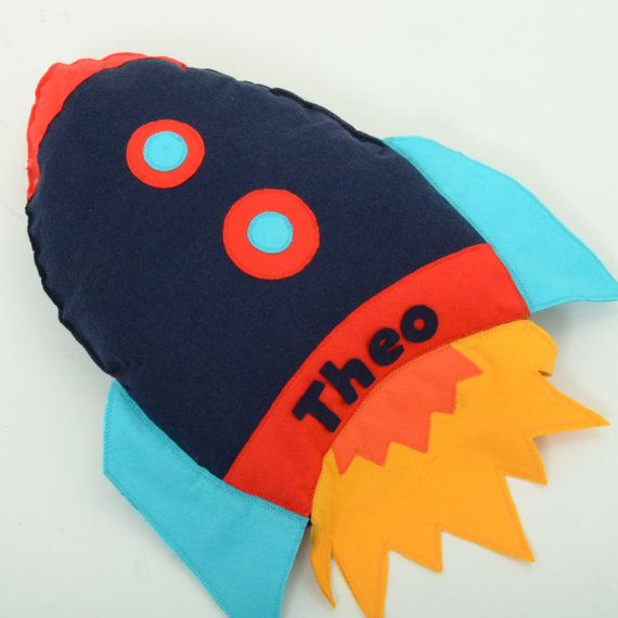 Personalised Space Rocket Handmade Cushion by ButtonOwlBoutique,