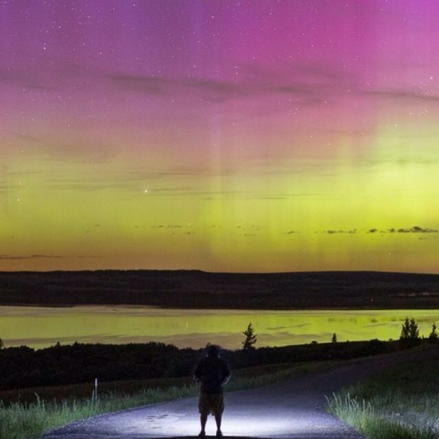 Northern lights in the Brecon Beacons South Wales uk #cymru