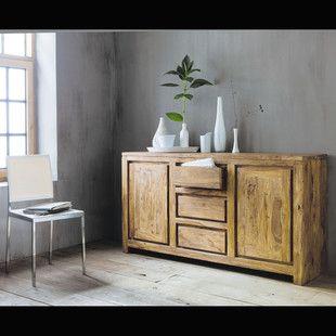 credenza a 2 ante e 3 cassetti in massello di legno di sheesham credenza and stockholm. Black Bedroom Furniture Sets. Home Design Ideas