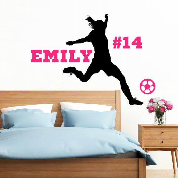 This wall decal is made from premium indoor removable (but not reusable) vinyl with a matte finish.   You can place the name and number anywhere you