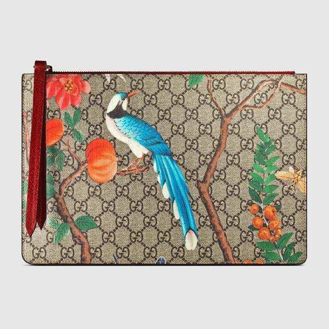 583f43c176b Gucci Tian GG Supreme zip pouch