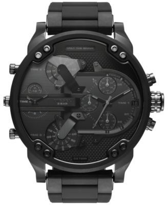 Diesel Men's Black Stainless Steel and Silicone Bracelet Watch 46x54mm DZ7396   macys.com