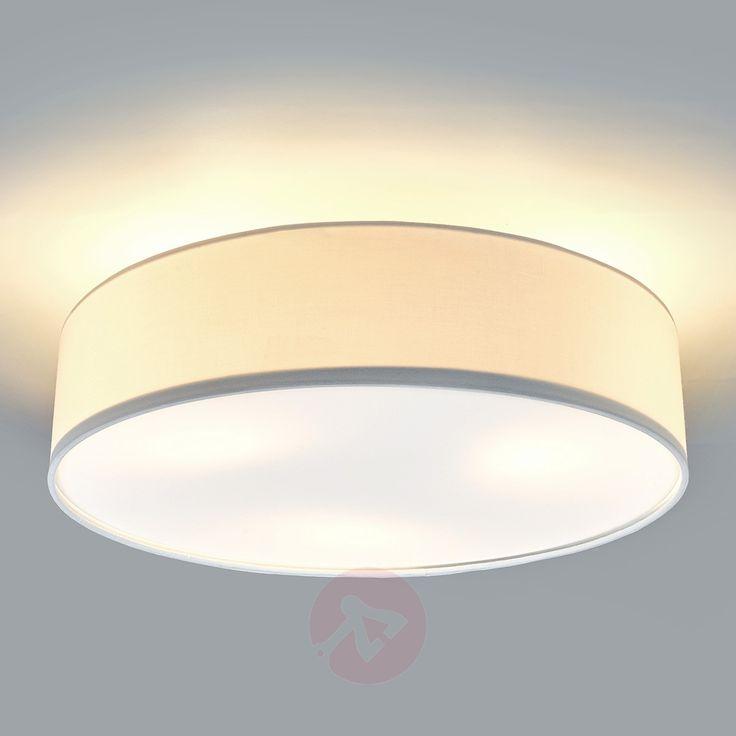Cremefarbene LED-Deckenleuchte Sebatin aus Stoff-Deckenleuchten-9620328-30