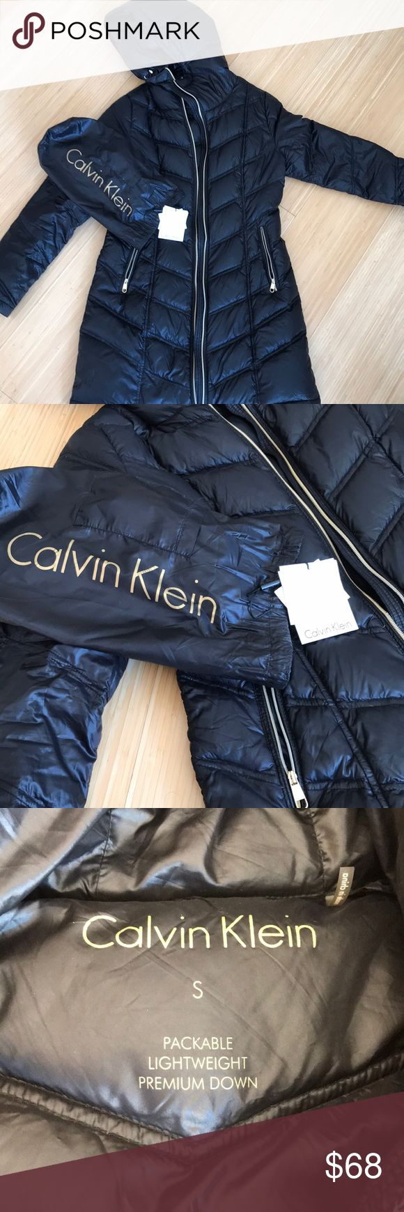 Black Calvin Klein Jacket Selling a small Calvin Klein packable premium down lightweight winter jacket. Used but still in great condition. Will come with the original tags and packable bag. Open to offers 😊 Calvin Klein Jackets & Coats Puffers
