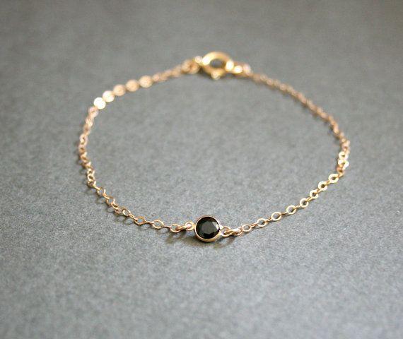 Tiny Black Spinel Gold Bracelet Delicate Minimalist
