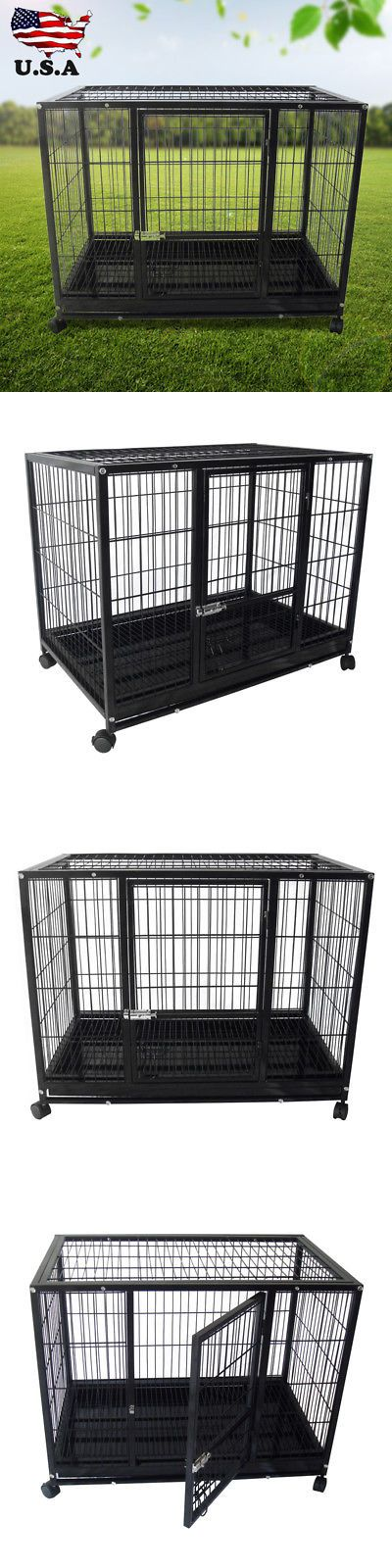 Other Pet Supplies 301: Xl 37 Heavy Duty Rolling Dog Crate Kennel Pet Cage House W Castor And Tray -> BUY IT NOW ONLY: $88.9 on eBay!