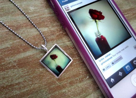 Instagram Photo Square Picture Necklace by CirclesAndSpades