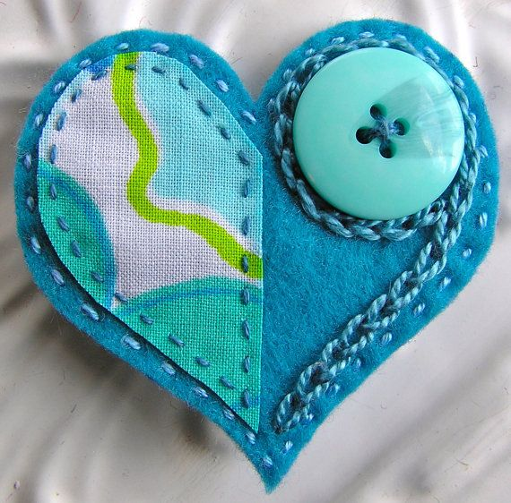 Embroidered Felt Heart Brooch