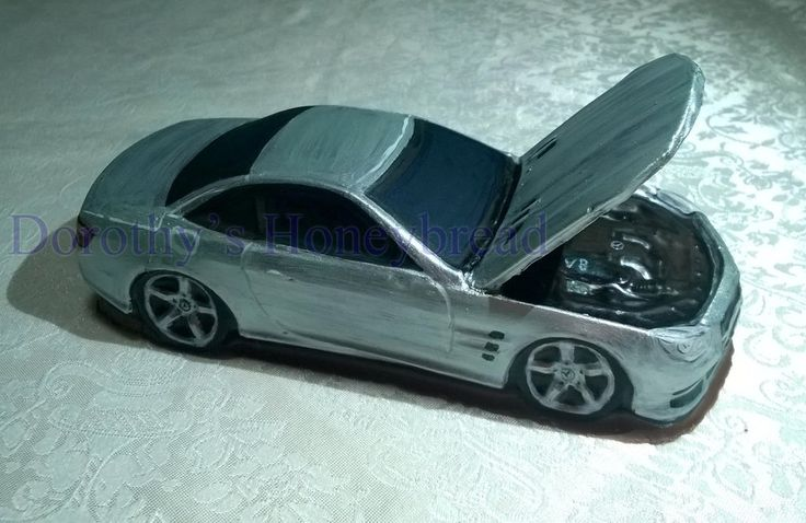 Mercedes SL500 AMG with open bonnet Medium scale