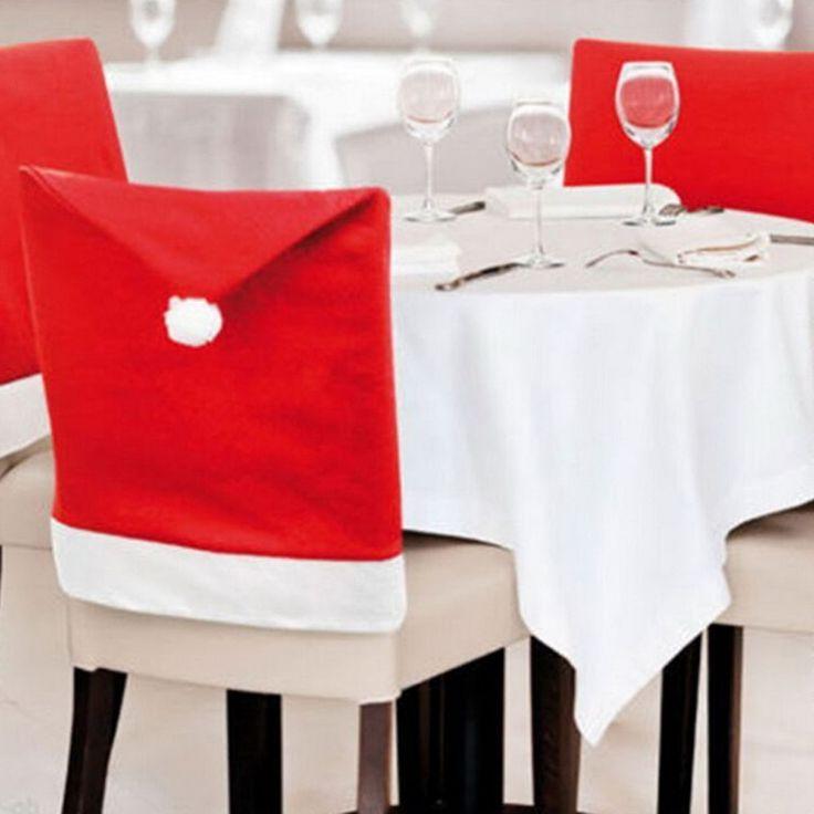 6 pcs Moda Cap Chapéu Vermelho de Papai Noel Mobiliário Cadeira Para Trás Cobrir Mesa de Jantar de Natal Festa de Natal Decoração do Ano Novo