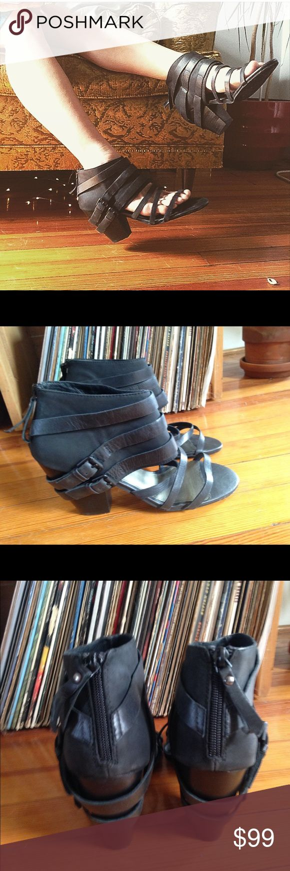 NEW free people X Matisse strappy cutout boot heel Sz 10 new store model light marks on soles from being tried on in store. Matisse brand sold at free people. All leather. Rad boots that work dressed up or down with jeans. Free People Shoes Ankle Boots & Booties