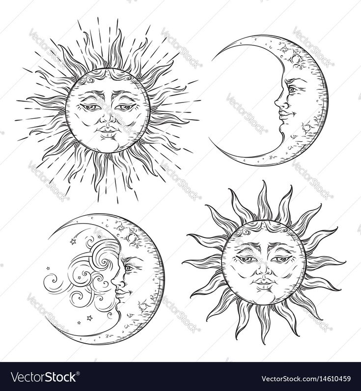 Boho chic flash tattoo design sun and moon set vector image on