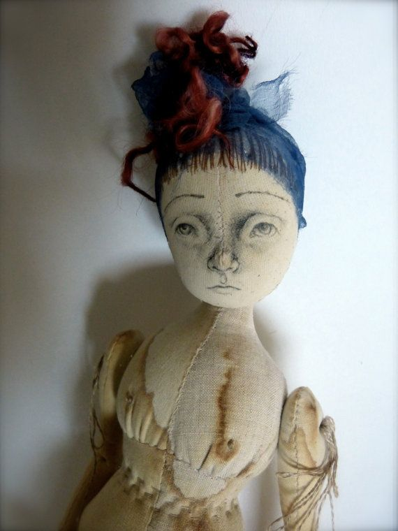 Gracie, Large Calico and Antique Silk Cloth Art Doll
