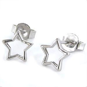 Pendiente de plata estrella de hilo de 8 mm con cierre presión