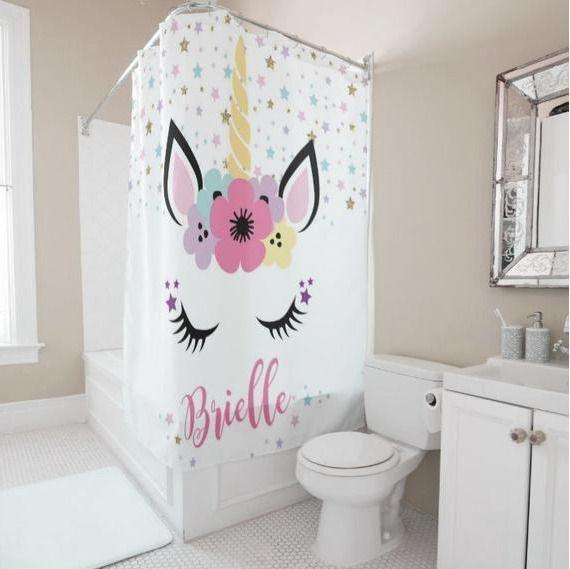 Personalized Unicorn Shower Curtain Girls Bathroom Decor