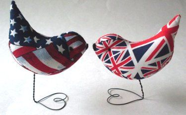 Wedding Cake Topper Love Birds Brittish Meets American Decorations,Showers,Gifts