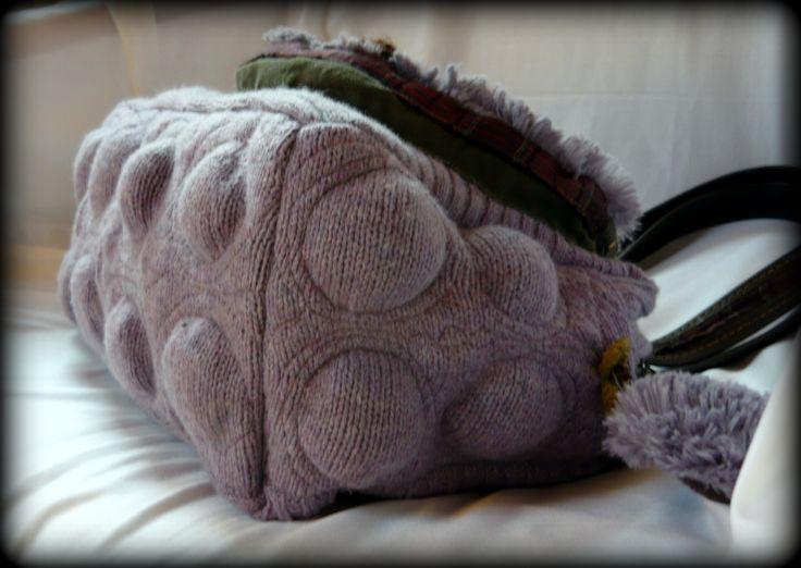 Handmade by Judy Majoros-Bubble Lavender knit handbag. Leather strap. Faux fur handbag. Knit shoulder Bag.Recycled bag