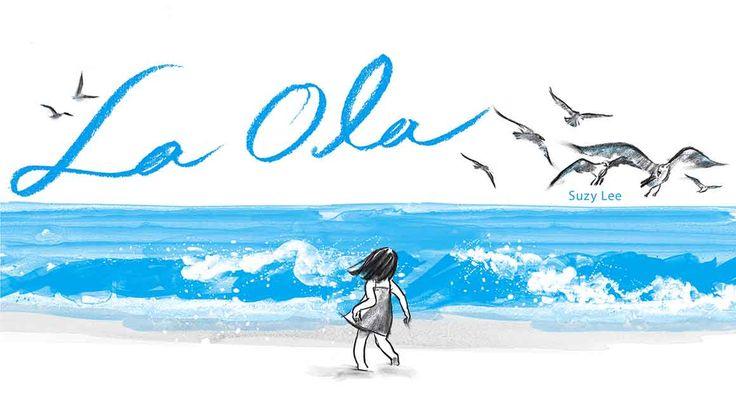 """La ola de Suzy Lee es un libro mudo. No contiene más palabras que el propio título y una dedicatoria: """"Para mi bebé recién nacido"""". Eso provoca que la narratividad de la historia que cuenta se base únicamente en la ilustración: acuarela y carboncillo con apariencia de esbozo, dejando en ocasiones el trazo solamente insinuado."""