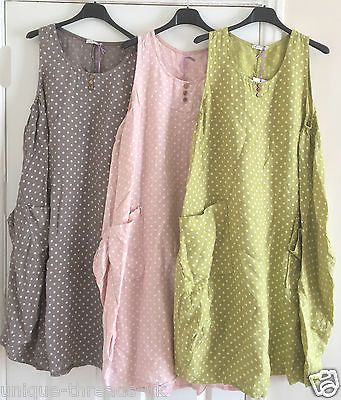 New-BOHO-Italian-LAGENLOOK-100-Polka-Dot-LINEN-Tunic-POCKET-Pinafore-Dress-50