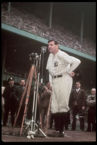 Babe addressing the crowd at Yankee Stadium on June 13th 1948 as his number 3 is retired. Ravaged by cancer, he would die two months later.