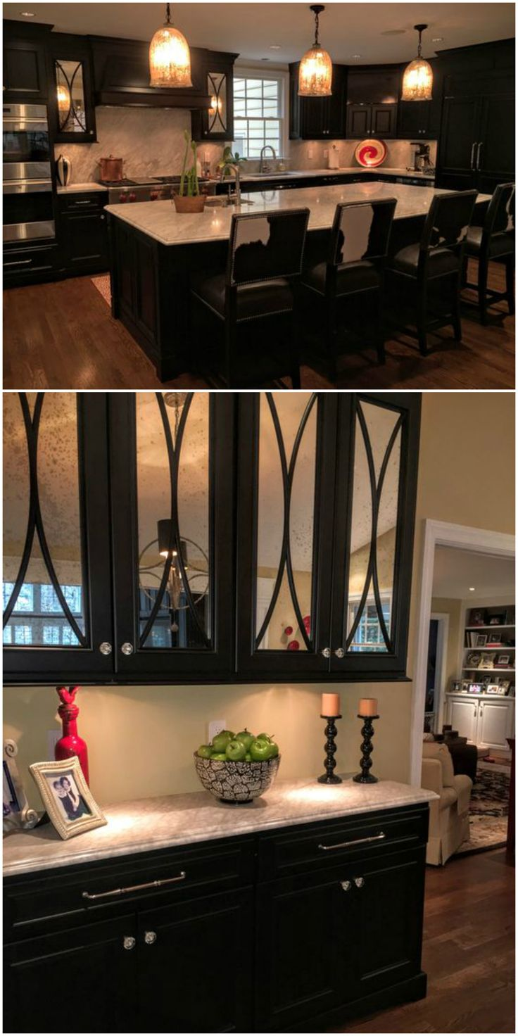 Dark Painted Kitchen Mercury Glass Fronted Doors With