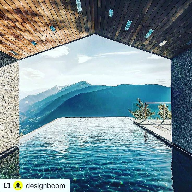 #Repost @designboom. Who would like to be here right now?  The infinity #pool featured in this hotel that is nestled into a forest in in northern Italy.