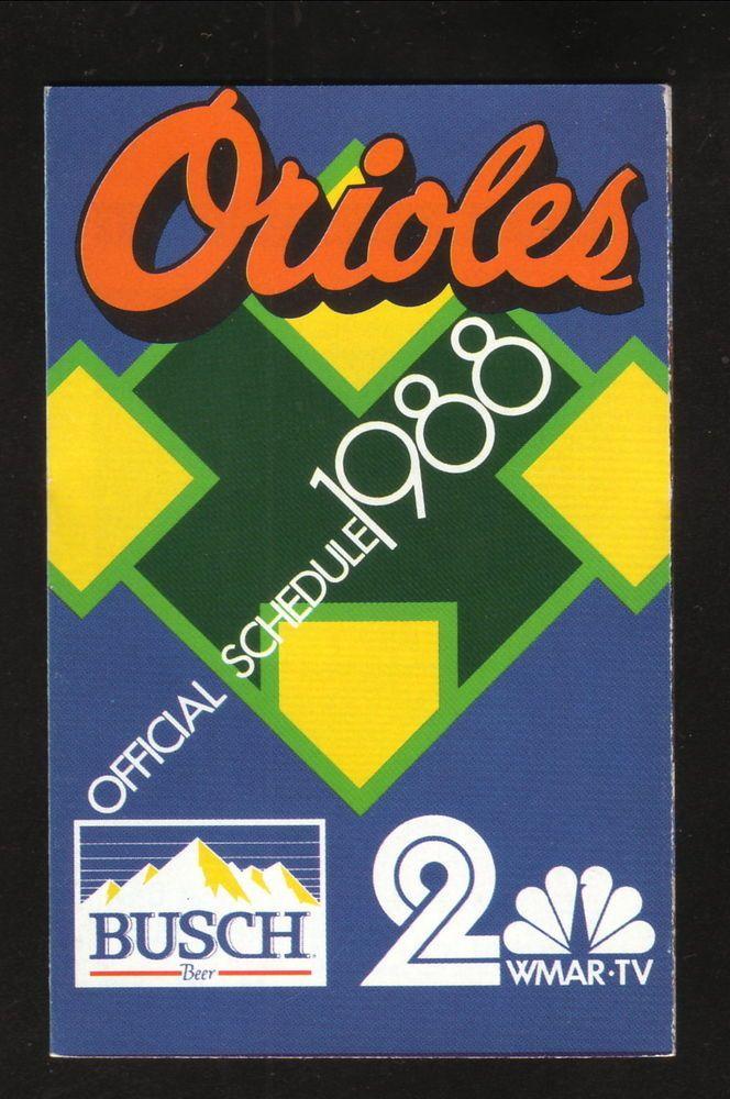 1988 Baltimore Orioles Schedule--WMAR/Busch #PocketSchedule