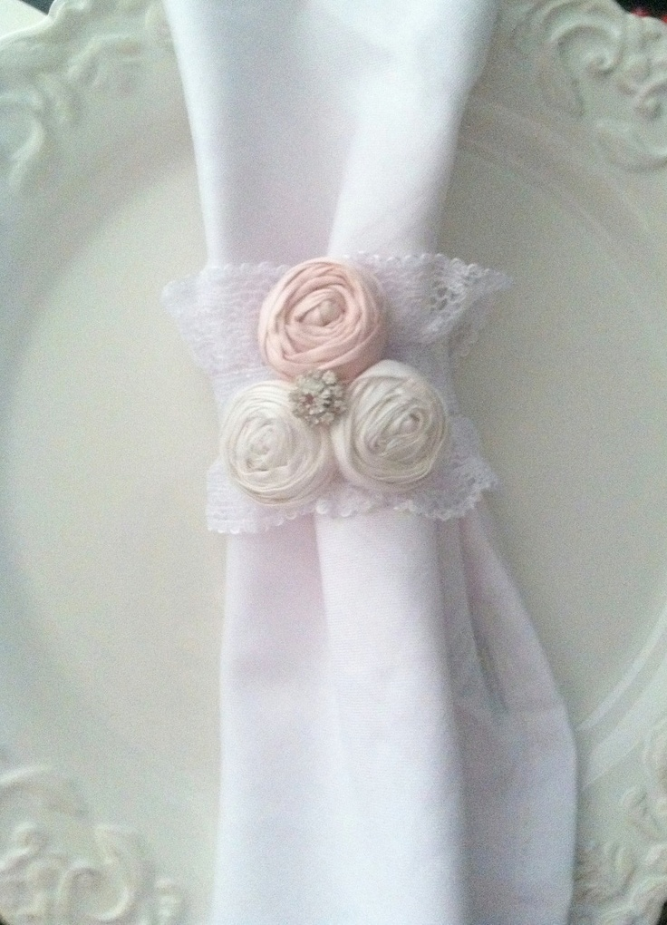 Spring Home Decor Sale Napkin Rings Table Settings French Country Wedding Tea Party Cottage Chic Ruffle Lace Napkin Holder Set of 6. $30,00, via Etsy.