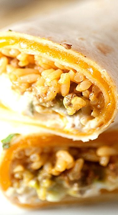 Spicy beef, seasoned rice, cheese, and guacamole all rolled up in a cheese quesadilla!