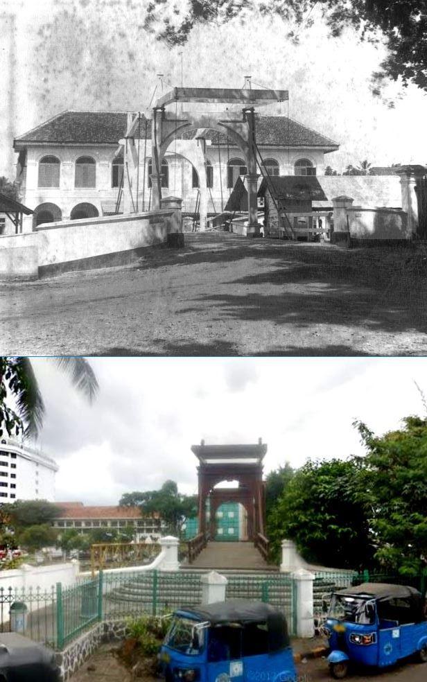 Ophaalbrug over de Grote Boom te Batavia, 1900, ,., Jembatan Kota Intan di jl Kali Besar, Jakarta, 2015