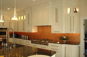 Copper Backsplash White Cabinets Black Dark Counter