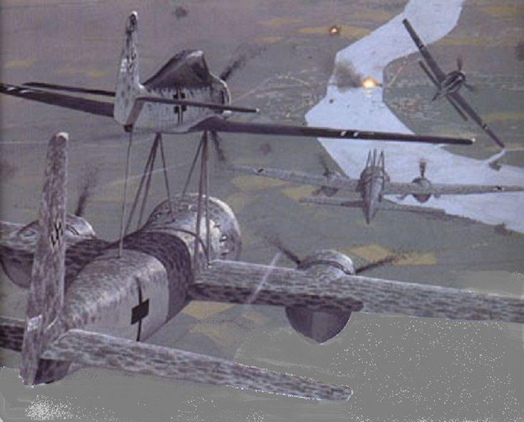 Consistia en un avion bombardero bimotor cargado de explosivos y un avion caza acoplado a su parte superior que lo controlaba y lanzaba contra un ojetivo .  El avion guia se liberaba mediante unos bulones explosivos despues de apuntar al blanco.   La ojiva del Mistel era una carga hueca de casi dos toneladas de explosivo , similar a la cabeza del arma antitanque Panzerfaust . La ojiva se esperaba que tuviera una penetración de hasta 7 metros en hormigón armado.