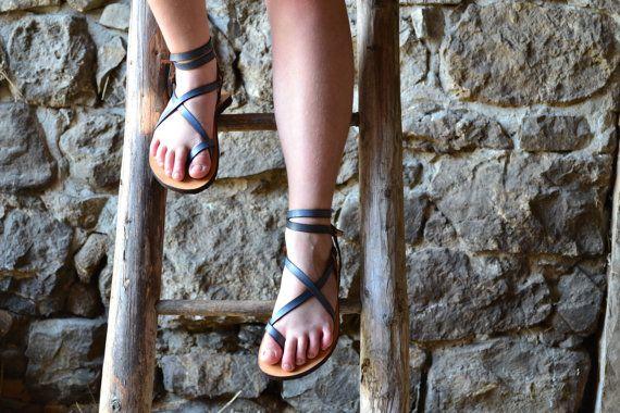 Womens sandals, Blue leather, barefoot sandals, platform sandals, women, flat sandals, strap sandals, adjustable sandals