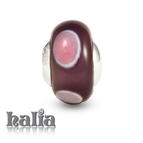 Passionate Kiss: Bubbles of pink upon deeper rose and red tones: murano glass bead on a sterling silver barrel: designed exclusively by Halia, this bead fits other popular bead-style charm bracelets as well. Sterling silver, hypo-allergenic and nickel free.     $36.00