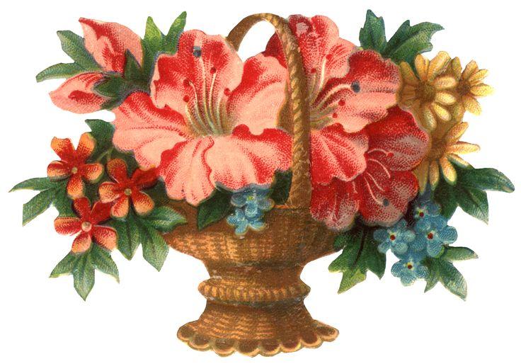 Vintage christmas graphics victorian flower basket clip