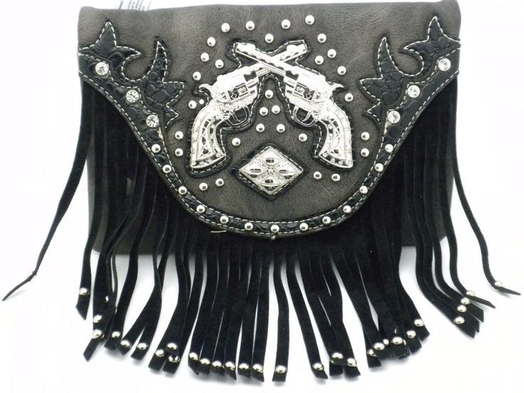 Fringe Handbag Guns Western Wallet Style Women Shoulder Purse or Hand Held Black #Unbranded #ShoulderBag