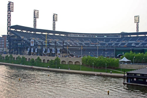 Picture of the view into PNC Park from the Roberto Clemente Bridge which spans the Allegheny River