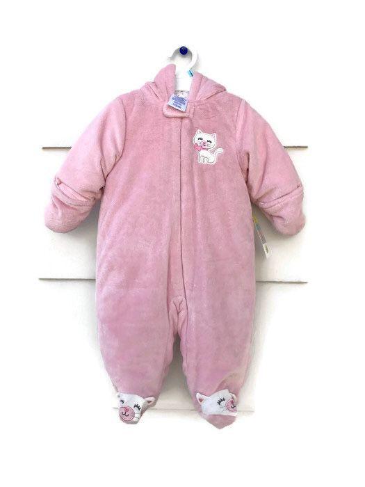 e320e2867 NWT Little Wonders Baby Girls Bear Ear Pink Zip Up Snow Suit Warm 3 ...